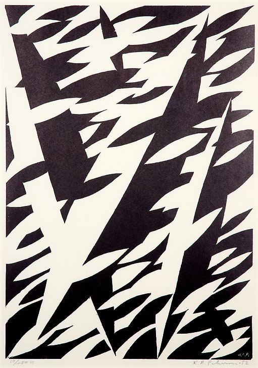 Dolphinic Motion  1952  woodcut  310 x 442 mm